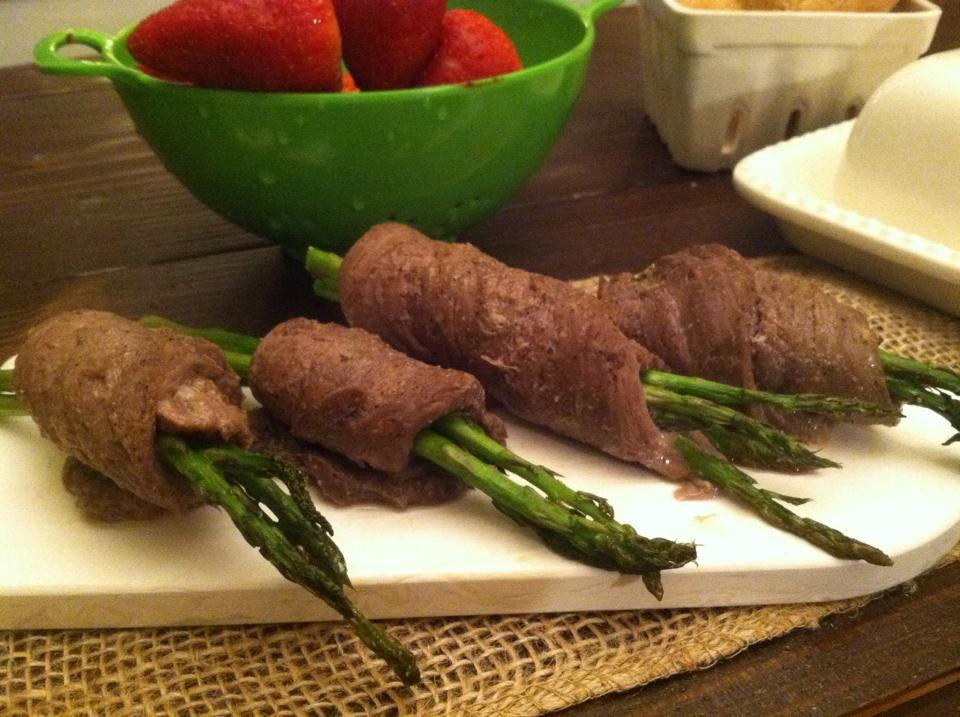 Asparagus wrapped Lemon & Garlic Venison Tenderloin