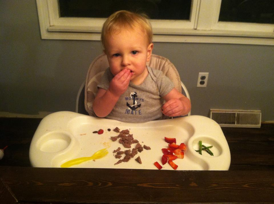 Baby Boy always devours his Venison
